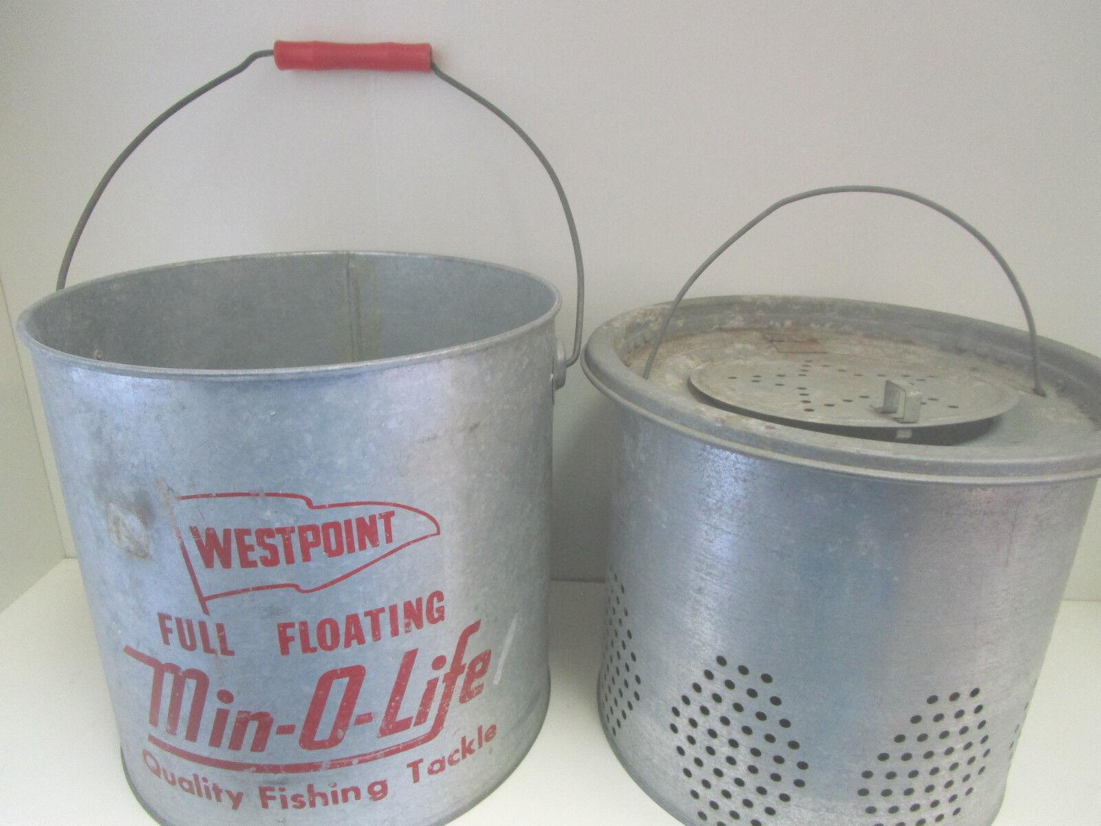 Vintage  Westpoint completo flotante Min-o-calidad de vida  Cubo de aparejos de pesca