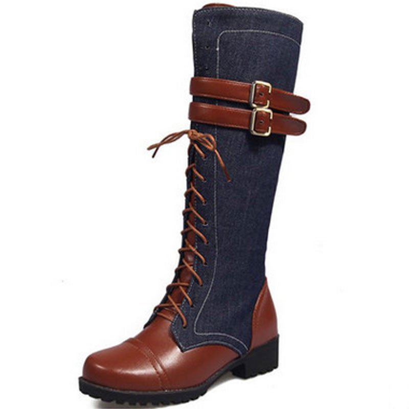 Women's Buckle Casual Lace Up Zipper PU Leather Denim Shoes Knee High Boots sz
