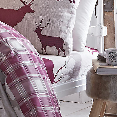 Grampian Stag Deer Mulberry Purple Brushed Cotton Bedding Fitted Sheet