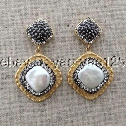 """K062614 1.6/"""" carrée blanche perle Boucles d/'oreilles"""