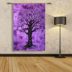 Details About Ethnic Tree Of Life Purple Tapestry Bohemian Wall Hanging  Twin Size Home Decor