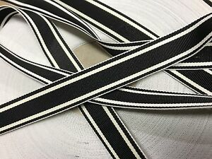 Vintage-1940-039-s-Rayon-5-8-034-Grosgrain-Ribbon-1yd-Stripe-Black-White-Reversible