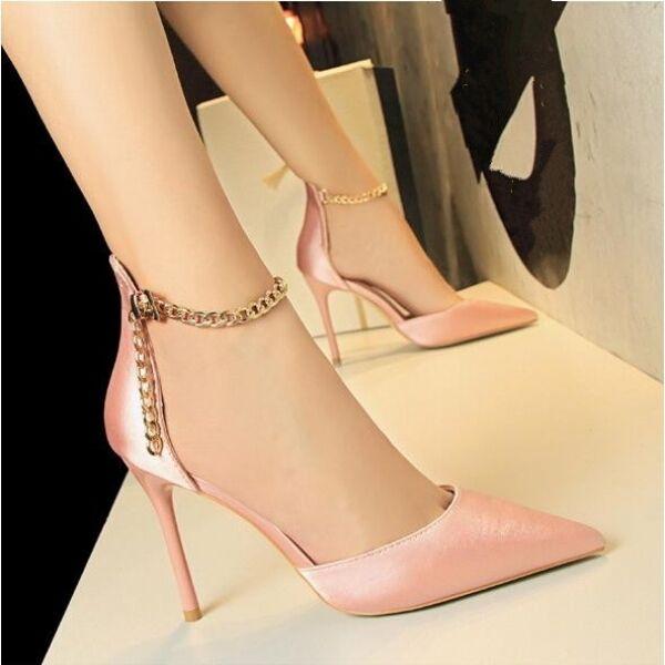 decolte Sandaleei stiletto 10 cm eleganti rosa cinturino oro simil pelle CW686