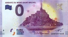 BILLET 0 ZERO EURO SOUVENIR  TOURISTIQUE L'ABBAYE DU   MONT SAINT MICHEL 2017-3A