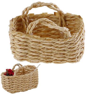 "produce home decor TINY WOVEN DOLLHOUSE BASKET 1/"" x 1//2/"" For Easter eggs 1:12"