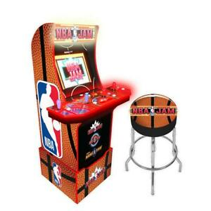 Arcade-1UP-NBAJAMS-Retro-Cabinet-Arcade1UP-Stool-Combo-Light-Up-Marquee-WI-FI