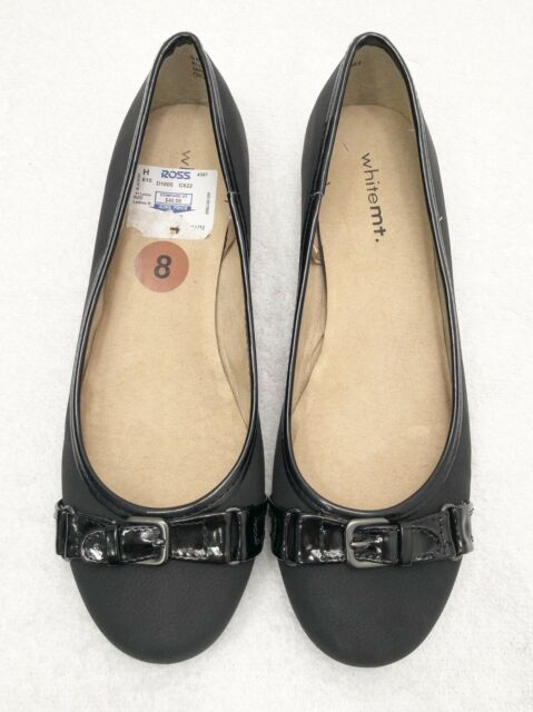 Womens Size 8 WHITE MOUNTAIN Giulia Black Loafer Ballet Flats Shoes