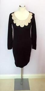 412fa8972da monsoon black fine knit with pale gold applique trim neckline dress ...