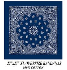 "XL BIG SUPER OVER SIZE BLUE PAISLEY 27"" Bandanna Cotton BANDANA Head Wrap Scarf"