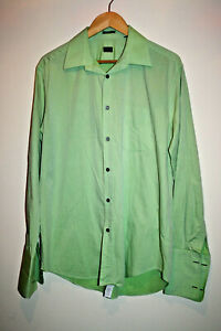 Paul-Smith-Moda-Disenador-para-Hombre-Clasico-Informal-Camisa-Verde-Algodon-Talla-S-15-39