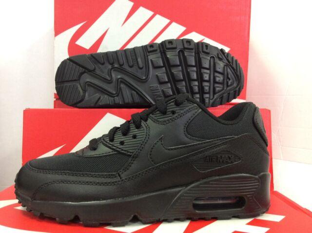 new product 73ebb 92b2c 2b991 483f2  denmark nike air max 90 leather mesh gs unisex juniors black  trainers uk 4 eu 0828a