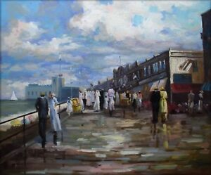Quality-Hand-Painted-Oil-Painting-Wharf-with-Passengers-20x24in
