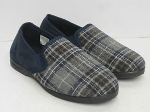 Uomo-Pantofole-Chiuse-Slip-On-x2013-blu-a-scacchi