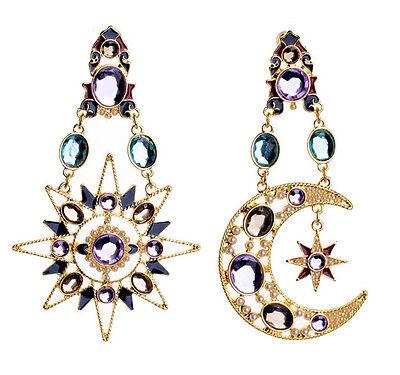 New Design Hot Resin Crystal Sun Moon Big Pendant Dangle Statement Stud Earring
