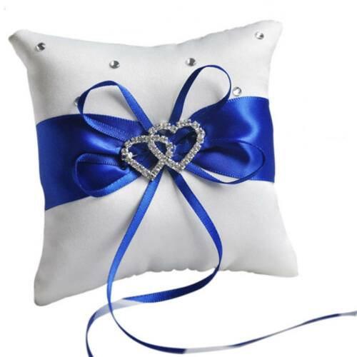 Double Heart Satin Ring Pillow Rhinestone Diamond For Wedding Party Decoration Blue