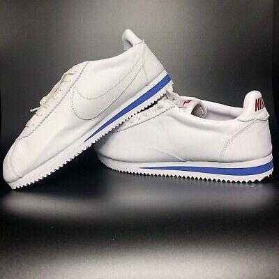 Nike Classic Cortez Premium Leather Shoes White Size 9 807480-103 White Blue | eBay