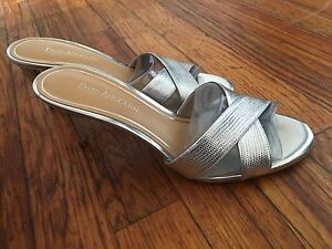 Image is loading Enzo-Angiolini-Silver-Metallic-Leather-Sandals-slides-shoe- c5a477d6cb4d