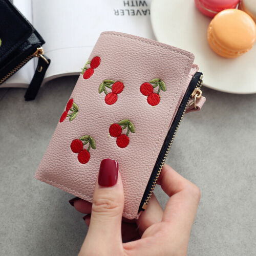 Girl Short Wallet PU Cherry Embroidery Coin Purse Card Holders Money Bag Pu aoLD