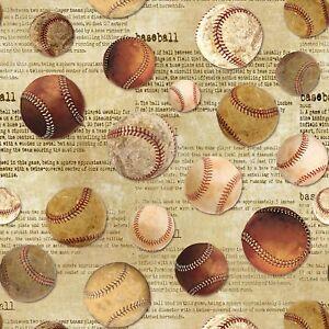 Sports-Fabric-Vintage-Baseball-Toss-on-Beige-Words-Timeless-Treasures-YARD