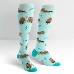 Womens-Knee-High-Socks-My-Otter-Half-Sock-Colourful-Funny-Cute-Long-Colourful