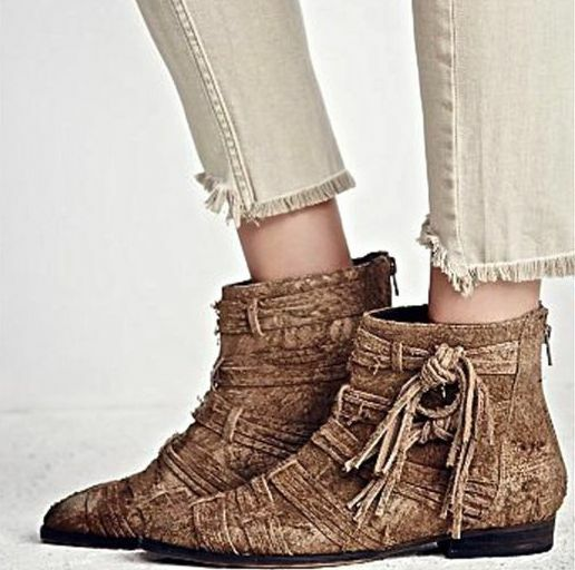 NEW Free People Brown Decades Ankle Boots Booties shoes Raw Suede w Tassels