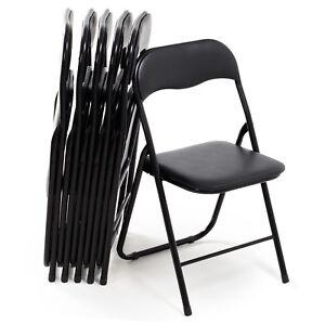 Set di 6 sedie pieghevoli moderne imbottite in metallo colore nero ...