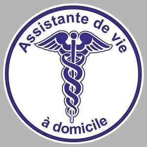 ASSISTANTE DE VIE A DOMICILE CADUCEE 9cm AUTOCOLLANT STICKER (AA126)