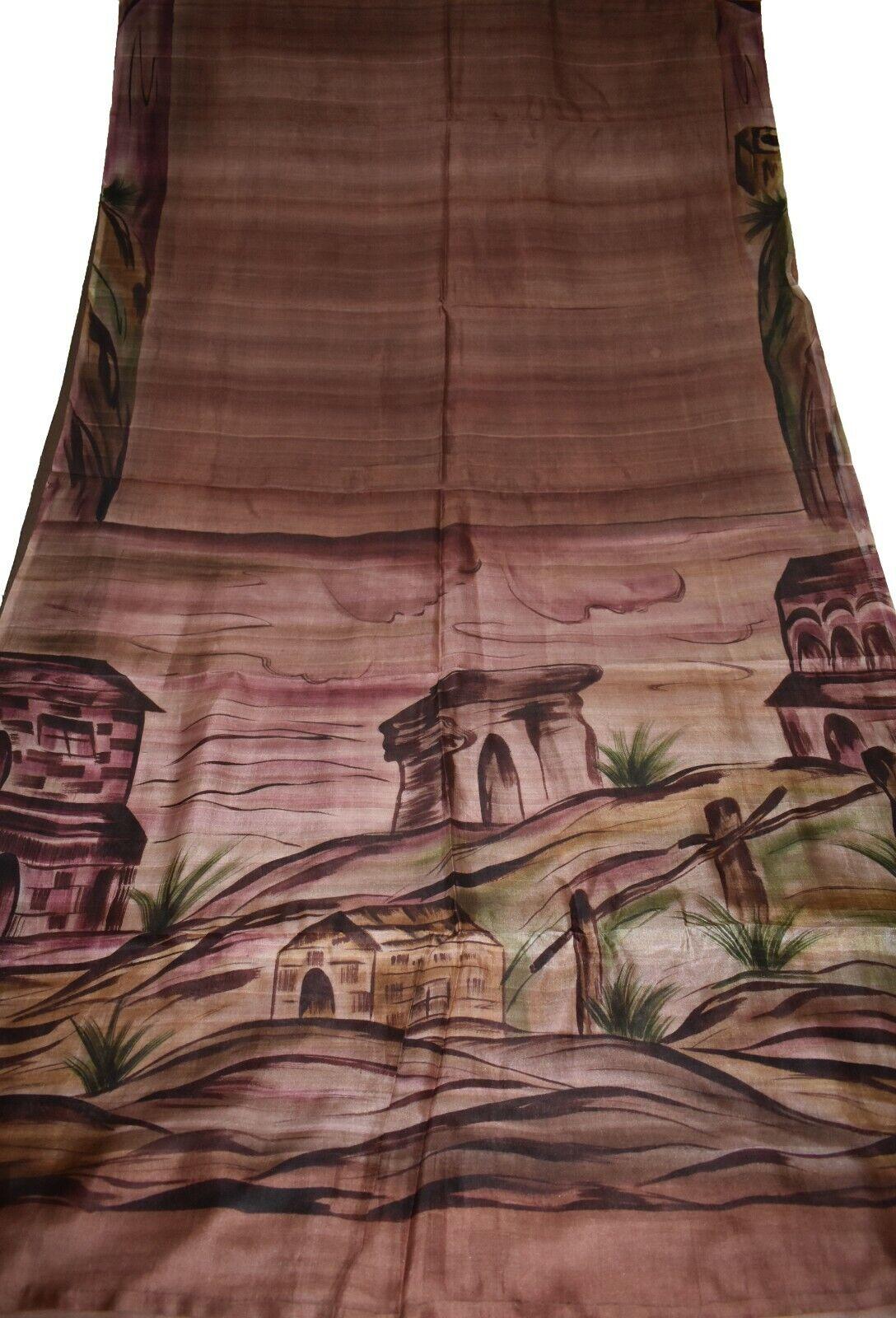 Vintage Printed Sari Brown Pure Silk Scenary Print 5Yrd Saree Design IPR-5686