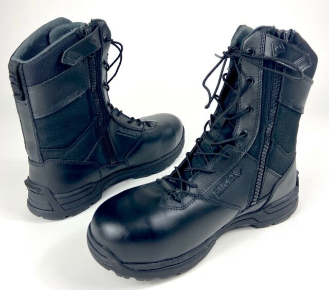 First Tactical Mens Safety Toe Side Zip Duty Boots Black Lace Up Leather 9 New