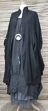 LAGENLOOK LINEN OVERSIZE 2 PCS STRIPED DRESS+JACKET**BLACK/CHARCOAL**XL-XXL