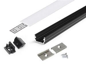 SET-Profilo-Alluminio-UNI12-Nero-da-Superficie-Tappi-Ganci-Cover-Slide