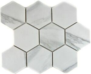 Mosaik-Fliese-Keramik-weiss-Hexagon-Carrara-Fliesenspiegel-Kueche-11F-0102