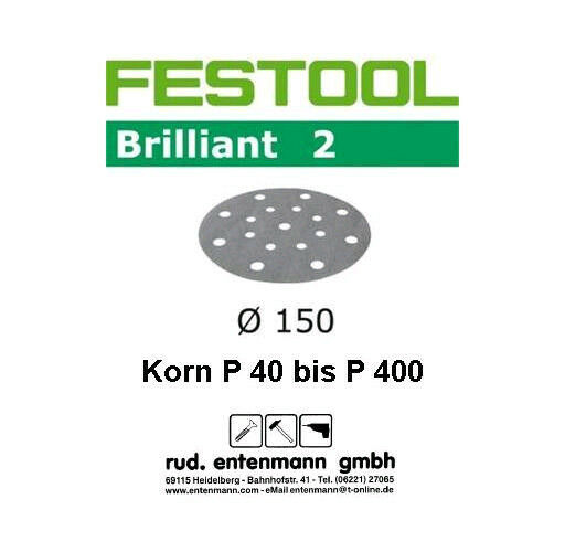 Festool Schleifscheiben Schleifpapier Brilliant 2 redex RO 150mm P 40 bis P 400
