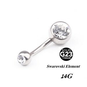 69967ddad Image is loading Titanium-Belly-Button-Ring-Crystal-Dangle-Body-Navel-
