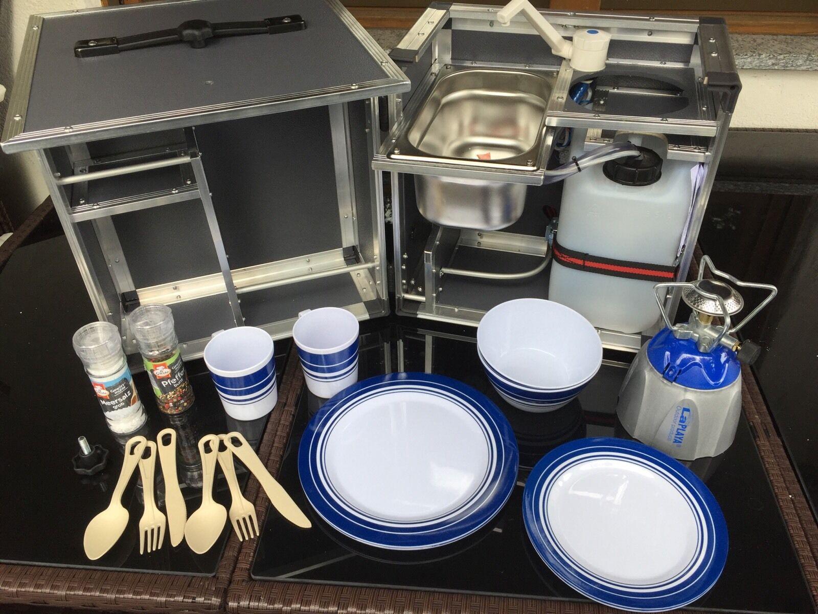 Z-Qube Zelt-Campingküche, Miniküche mit viel Zubehör, NEU von campingmoebel.4x4