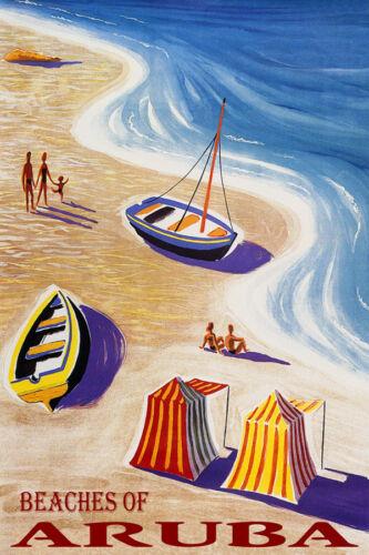 BEACHES ARUBA BEACH FAMILY FUN SAILBOAT SEA SUMMER TRAVEL VINTAGE POSTER REPRO
