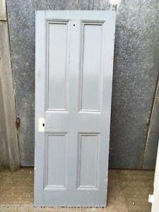 """27 1/4""""x70 1/4"""" Victorian Painted Pine Four Panel 2 Over 2 Narrow Internal Door"""