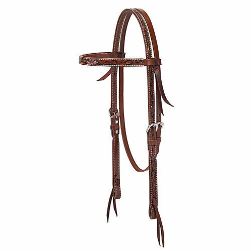 Weaver Leather Weaver Turq Cross Carved Chestnut Brow Headstall