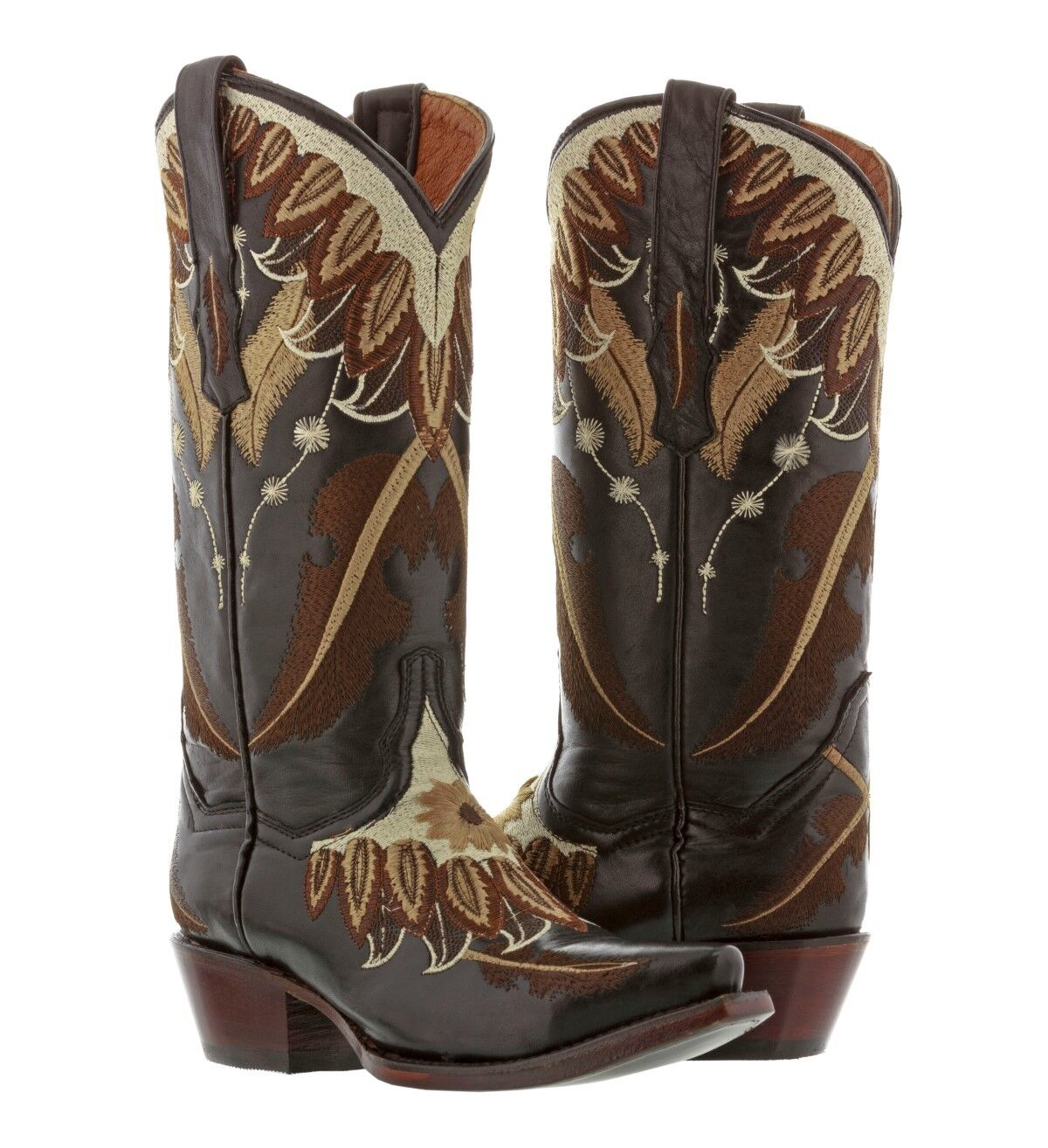 Womens Black Feathered Embroidered Leather Cowgirl Boots Western Snip Toe