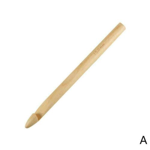 15//20//25//30mm Wooden Crochet Hooks Knitting Needles Tool Sewing S6Y7