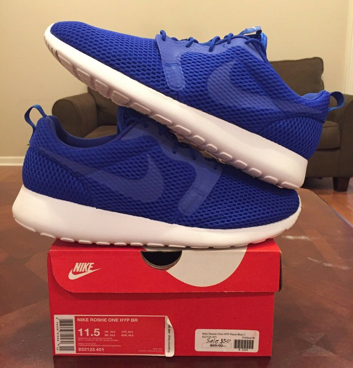 Nike Roshe Run One Hyp BR Blue Running Flyknit Air Max White Athletic 1 2 3
