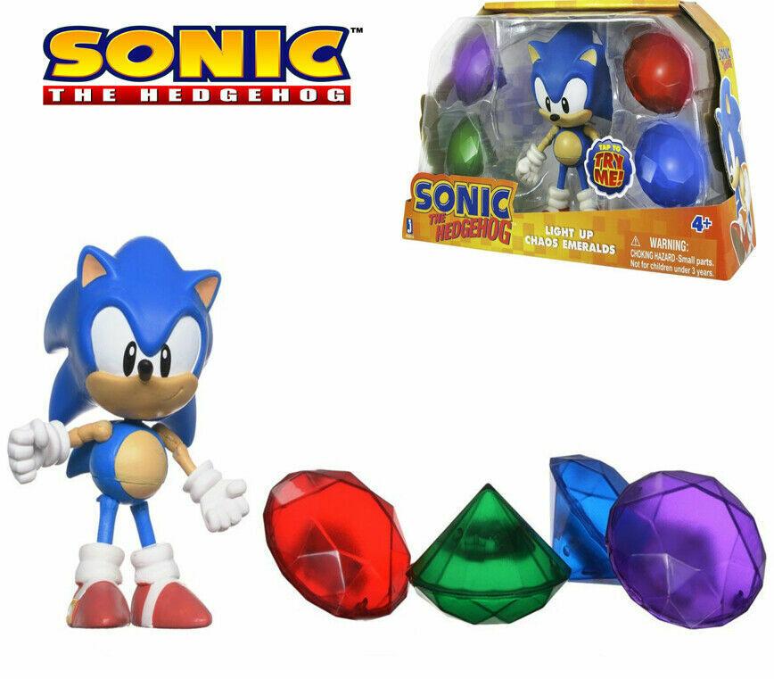 SONIC The Hedgehog Sonic Light Light Light Up Chaos Emeralds Collection RARE Figure 65910 0289d7