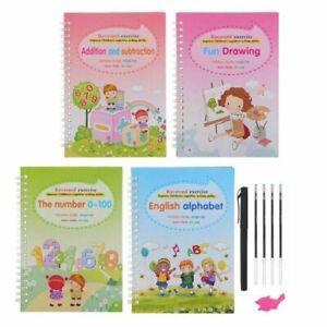 4Pcs Magic Practice Copybook Number Book Reusable Writin  Preschooler Pen Age 3+