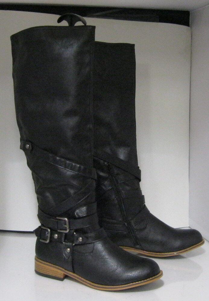 NEW LADIES Black 1.5  Block  Heel Sexy Knee Boot  Size 7