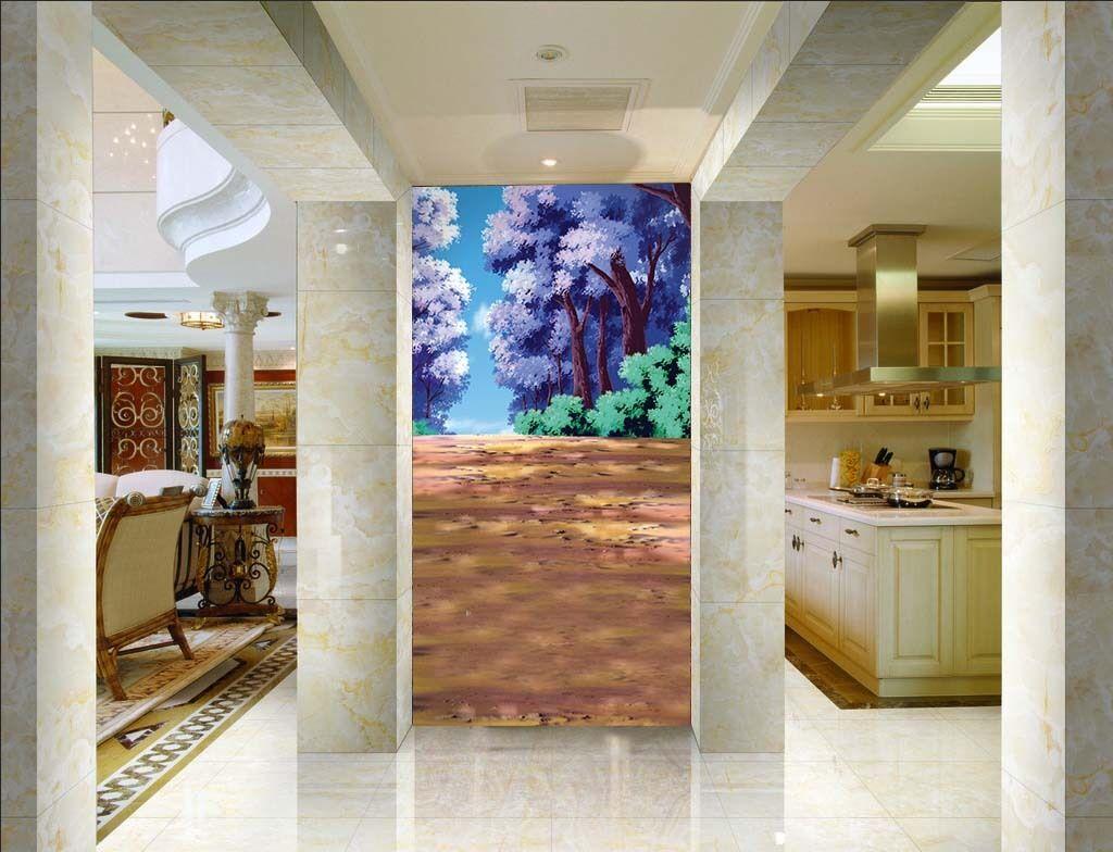 3D Porpora Albero'Parete Murale Foto Carta da parati immagine sfondo muro stampa