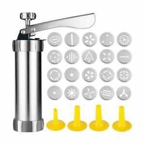 Cookie Press Machine Stainless Steel Biscuit Maker and Churro Maker with 20 D...