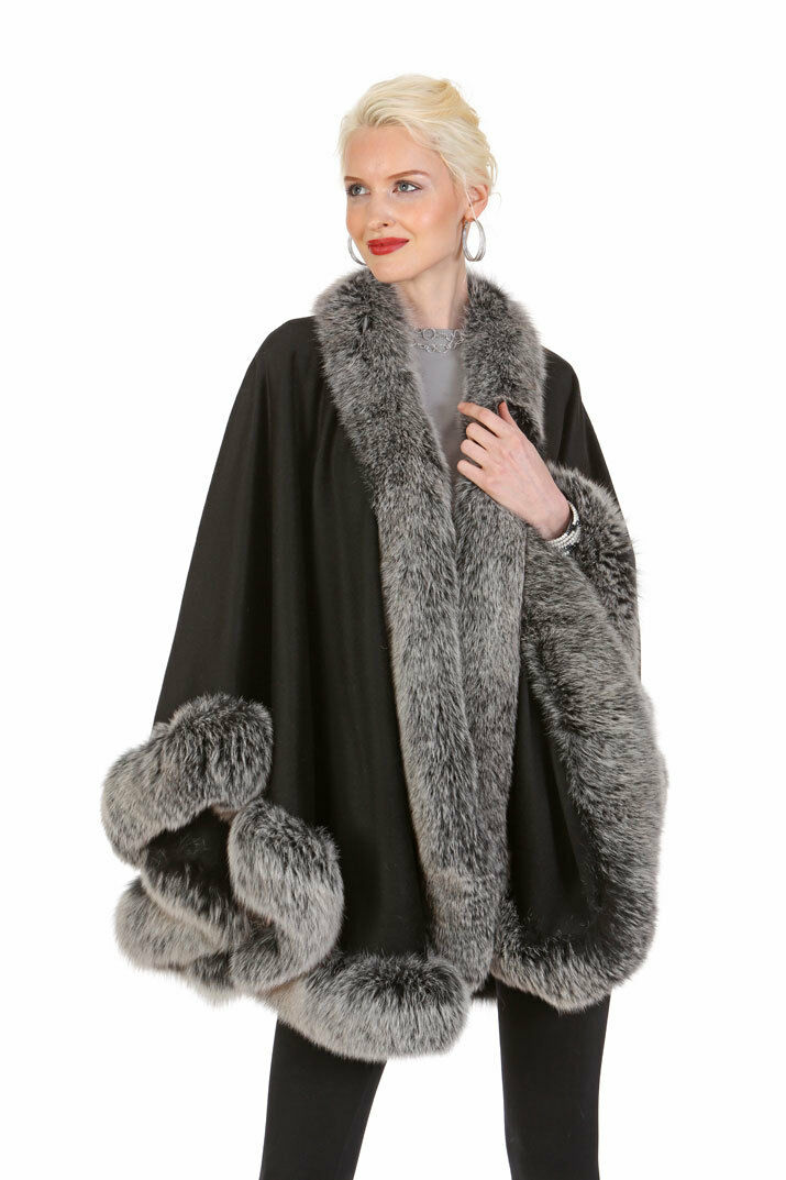 Frost Fox Trimmed Cashmere Cape for Women Real Fur - 30