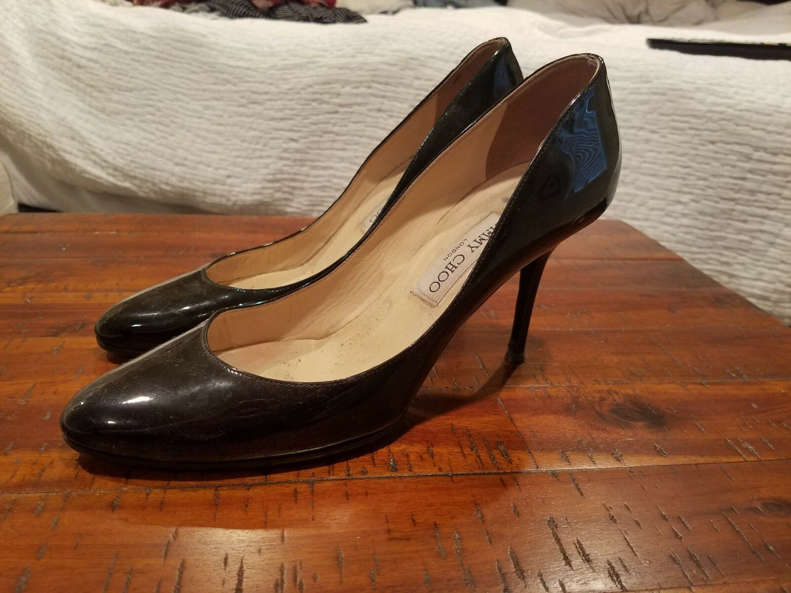 Jimmy Choo designer pump, classic black patent leather curved toe