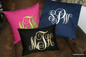 Monogram-Embroidered-Accent-Pillow-2-Sizes-Great-Gift-Idea-Handcrafted-New