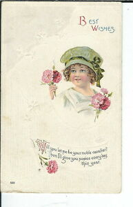 AY-074-Best-Wishes-Little-Girl-Holding-Flowers-1907-1915-Divd-Back-Postcard